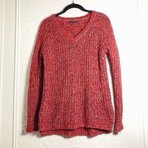 AEO Red Silver Comfy V-Neck Sweater